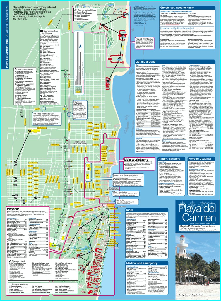 Playa Del Carmen Hotel Zone Map