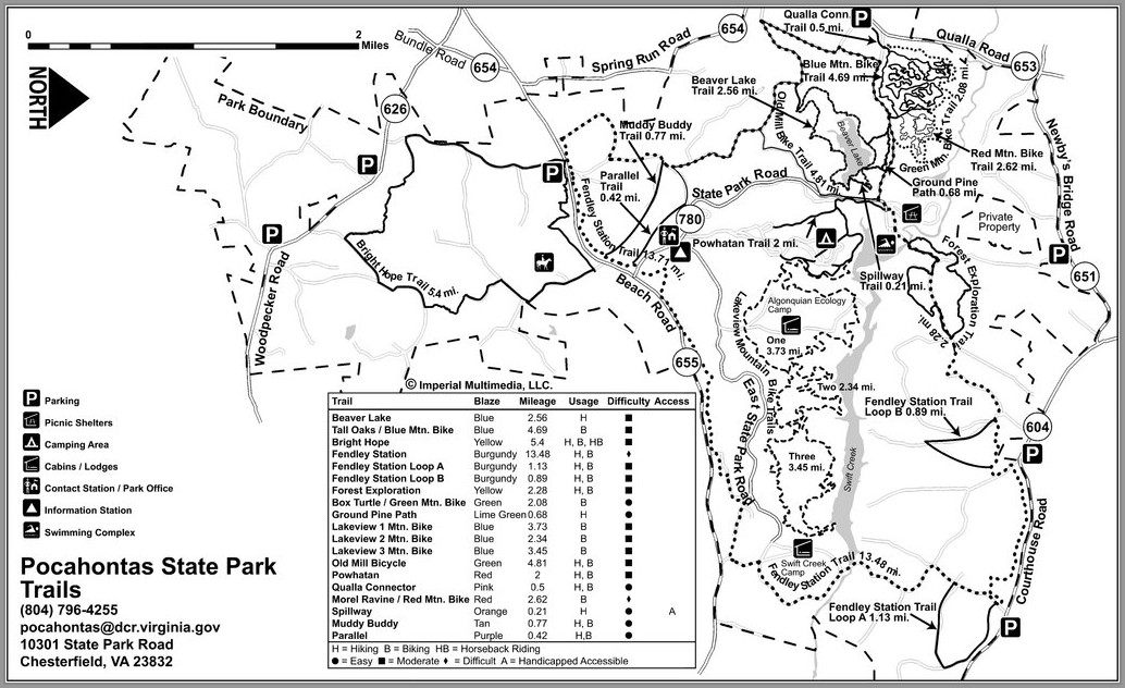 Pocahontas State Park Hiking Trail Map