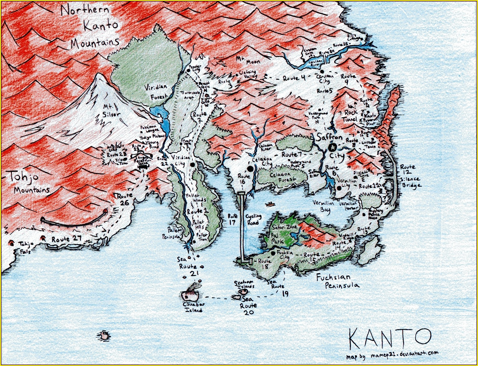 Pokemon Kanto Anime Map