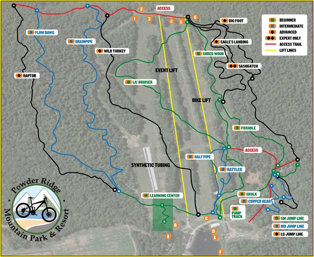 Powder Ridge Mountain Bike Trail Map