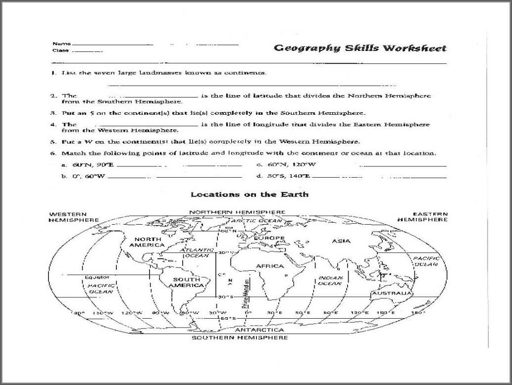Printable 6th Grade Map Skills Worksheets