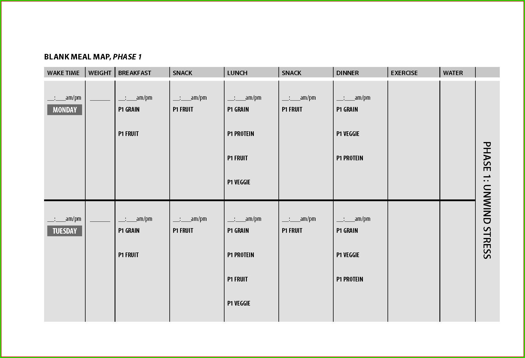 Printable Fast Metabolism Diet Phase 1 Meal Map