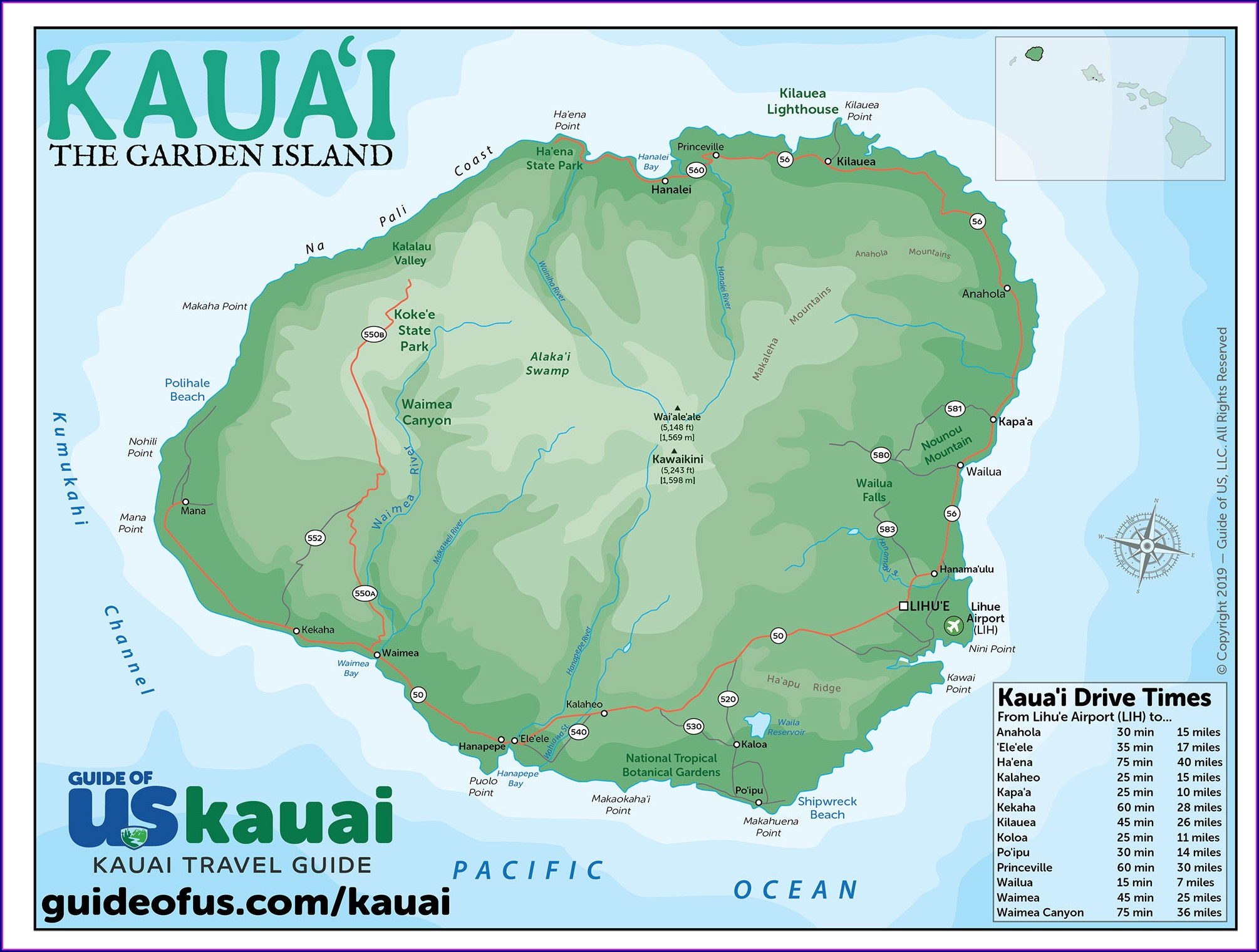 Printable Map Of Kauai Beaches