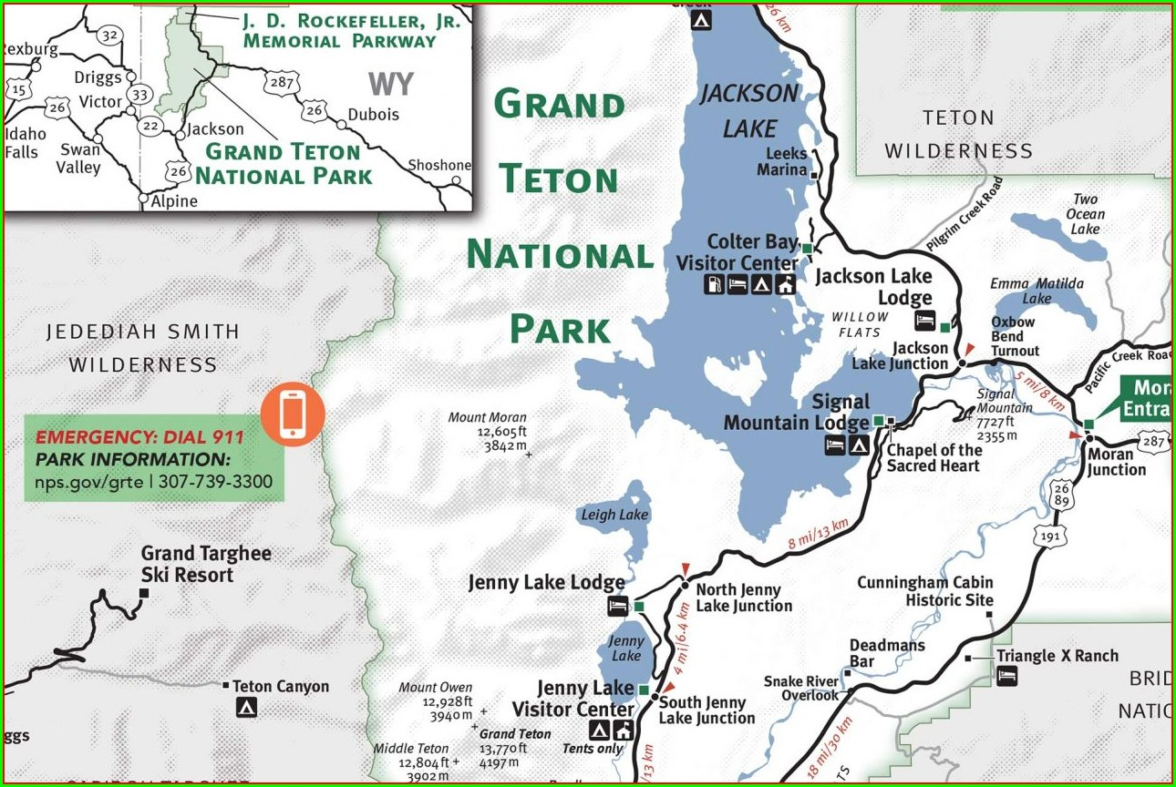 Printable Map Of Yellowstone And Grand Tetons