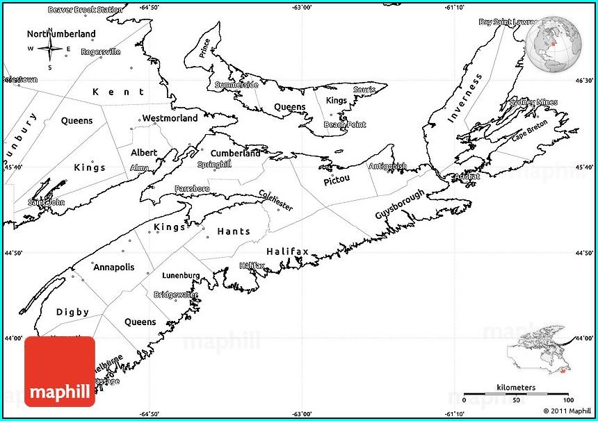 Printable Nova Scotia Map Outline