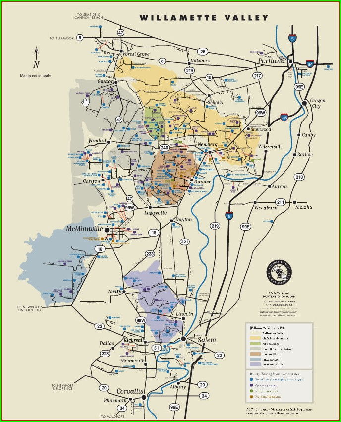 Printable Willamette Valley Winery Map Pdf