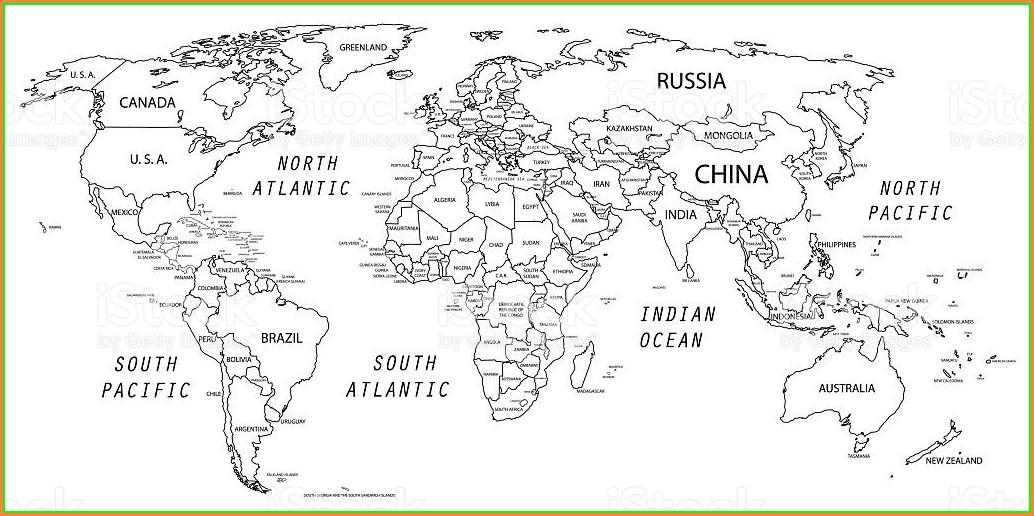 Printable World Map Black And White Outline With Countries