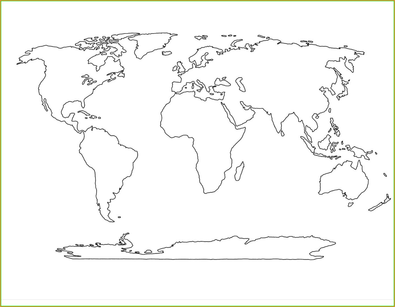 Printable World Physical Map Black And White