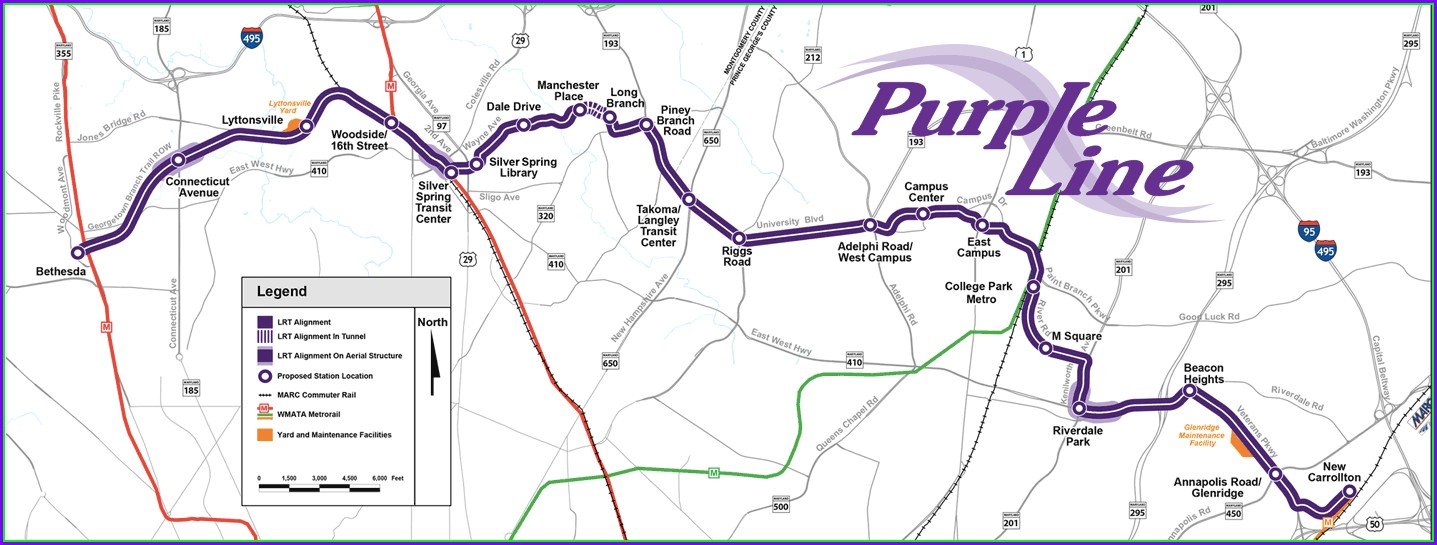 Purple Line Metro Map Maryland