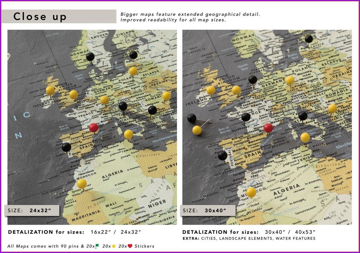 Push Pin World Map Canvas Uk