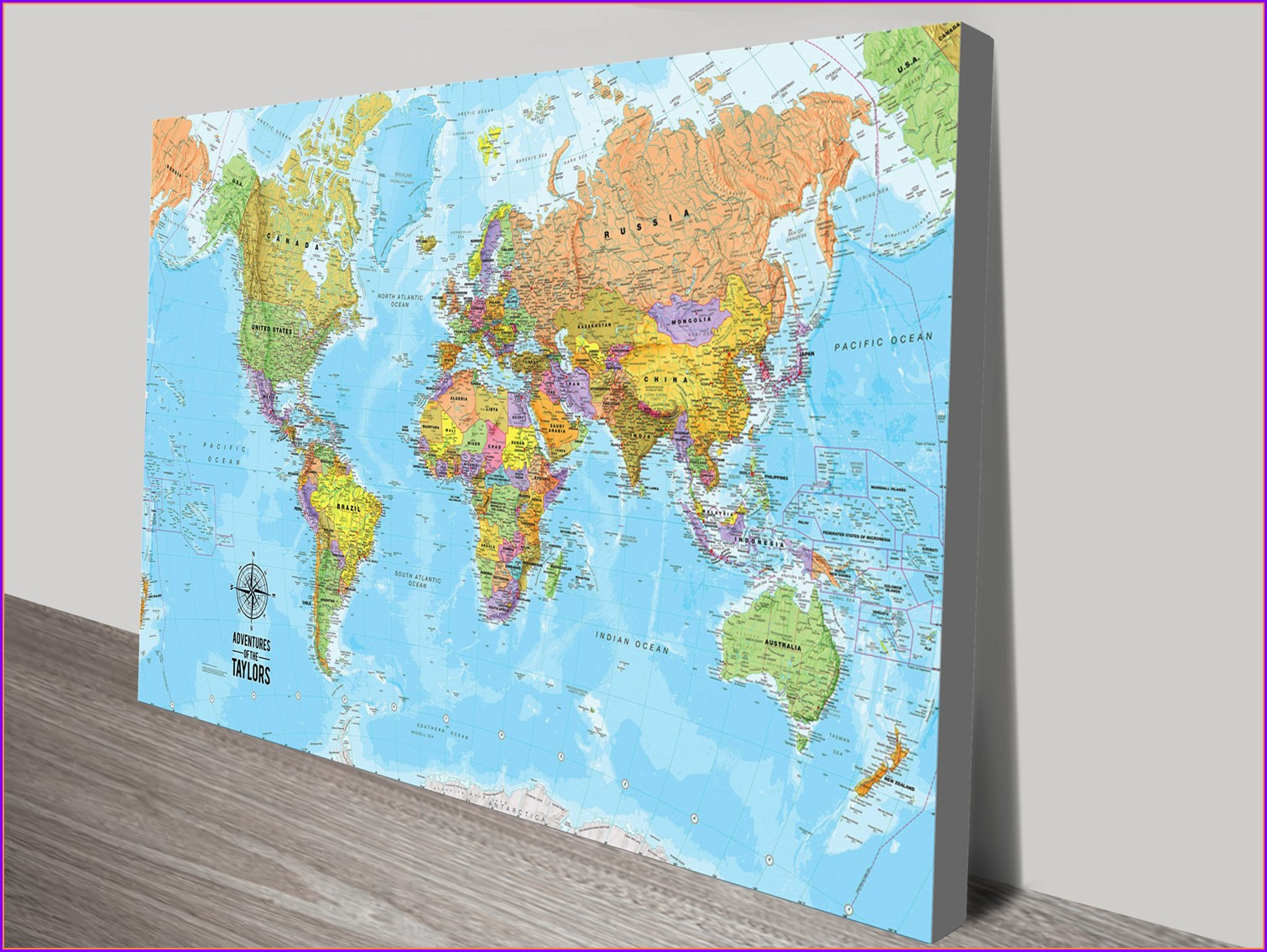 Push Pin World Map Canvas