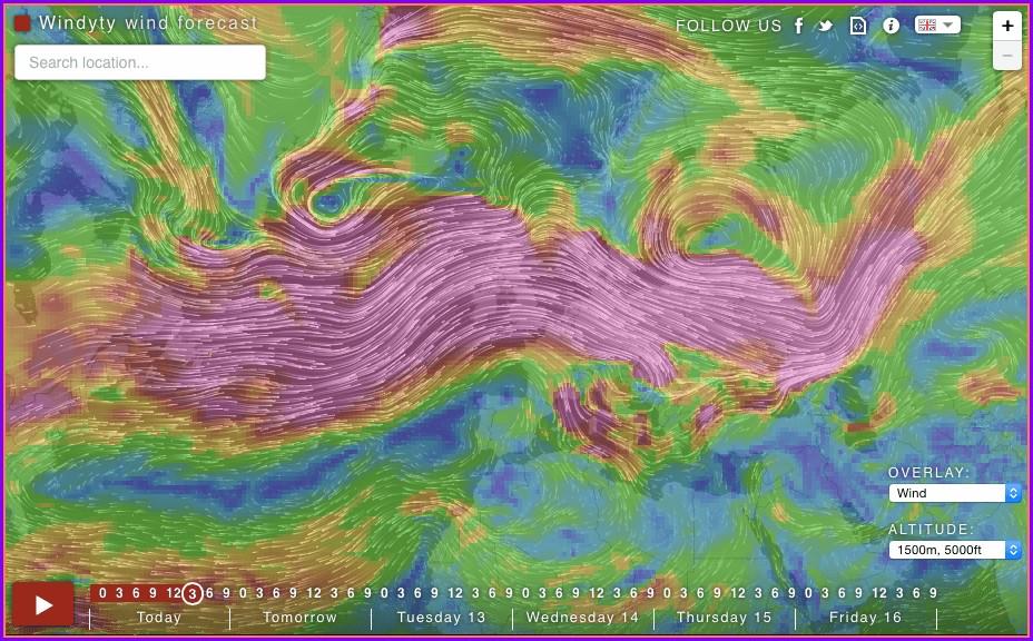 Rain Forecast Map France