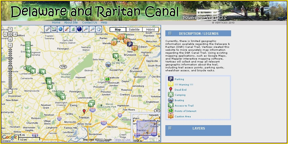 Raritan Canal Trail Map