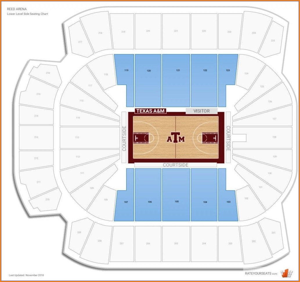 Reed Arena Seating Map