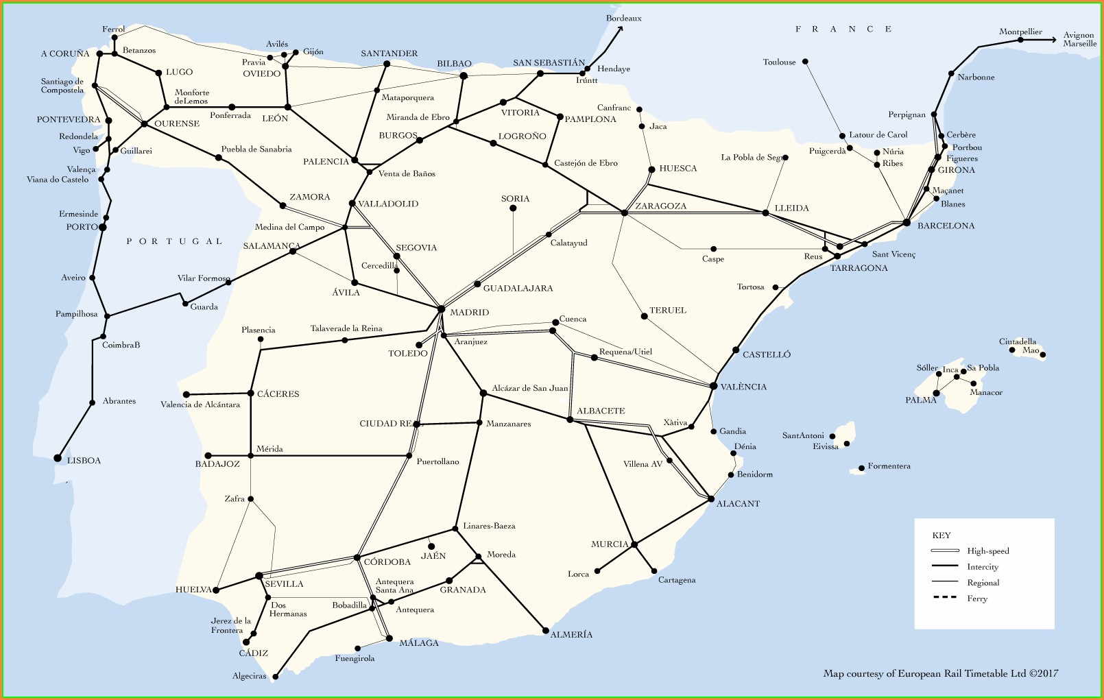 Renfe Train Map 2019