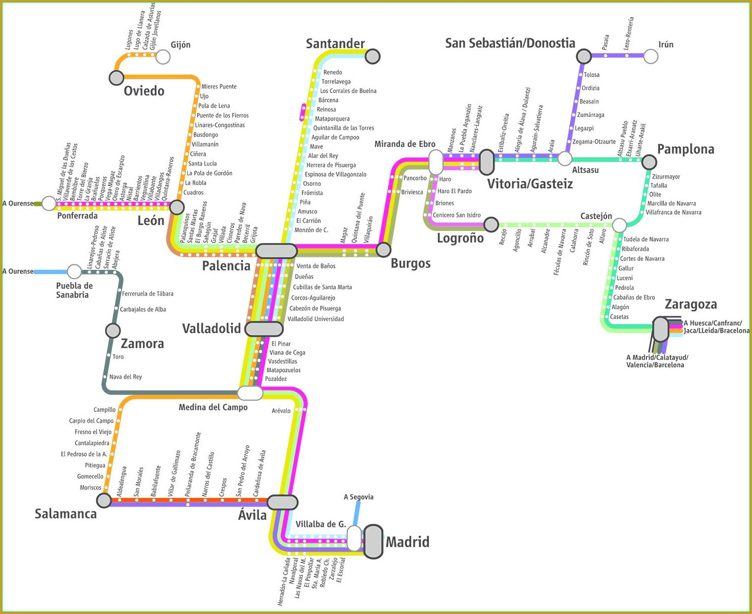 Renfe Train Map Of Spain