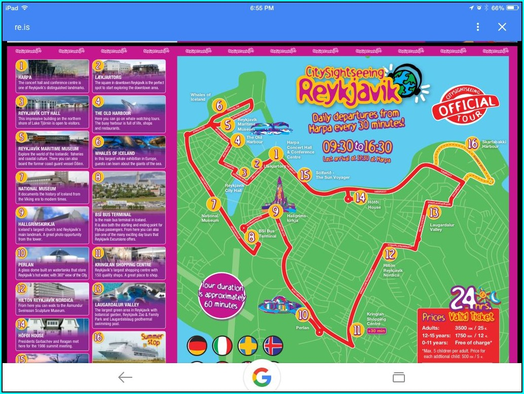 Reykjavik Hop On Hop Off Bus Map