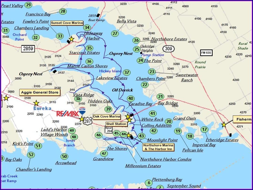 Richland Chambers Lake Depth Map