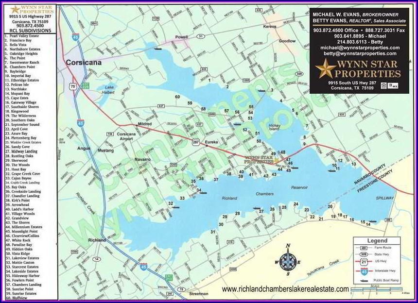 Richland Chambers Lake Map Subdivisions
