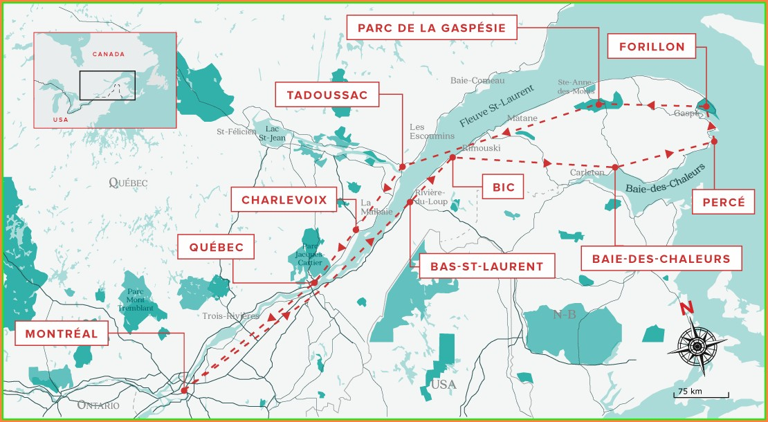 Road Map Of Gaspe Peninsula