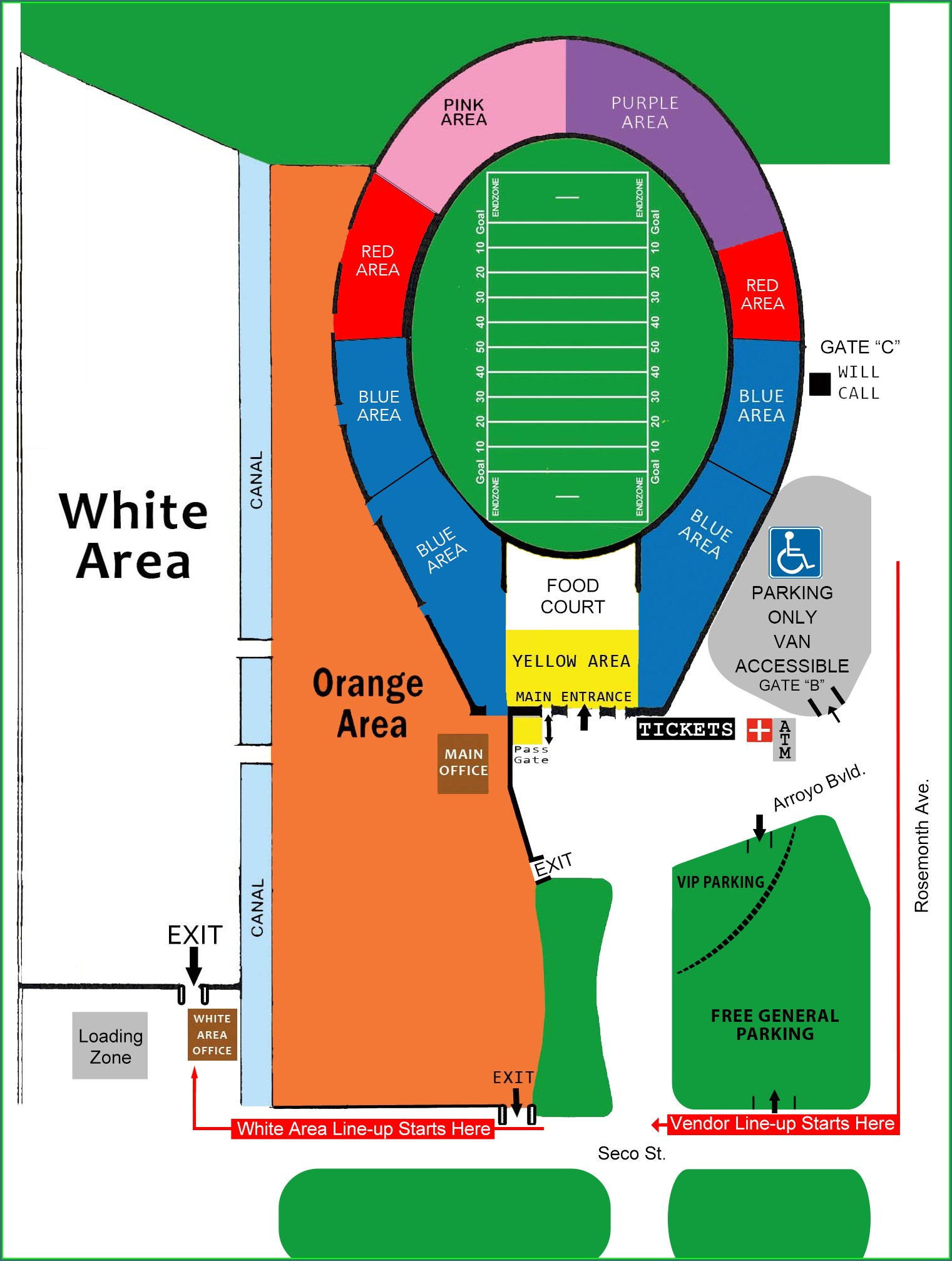 Rose Bowl Flea Market Map