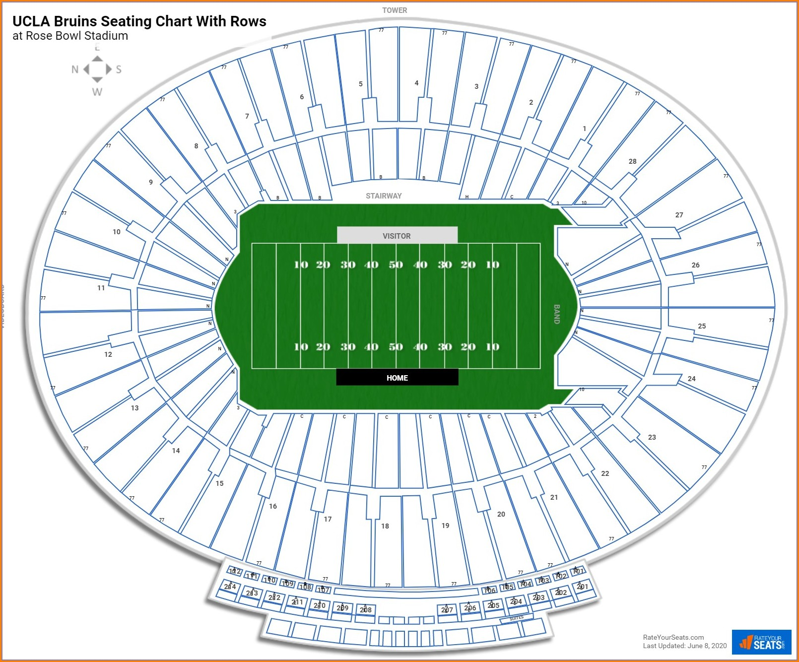 Rose Bowl Seating Map Rows