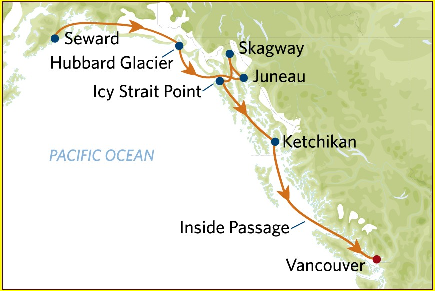 Royal Caribbean Alaska Cruise Route Map