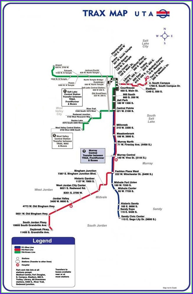 Salt Lake City Trax Map Airport