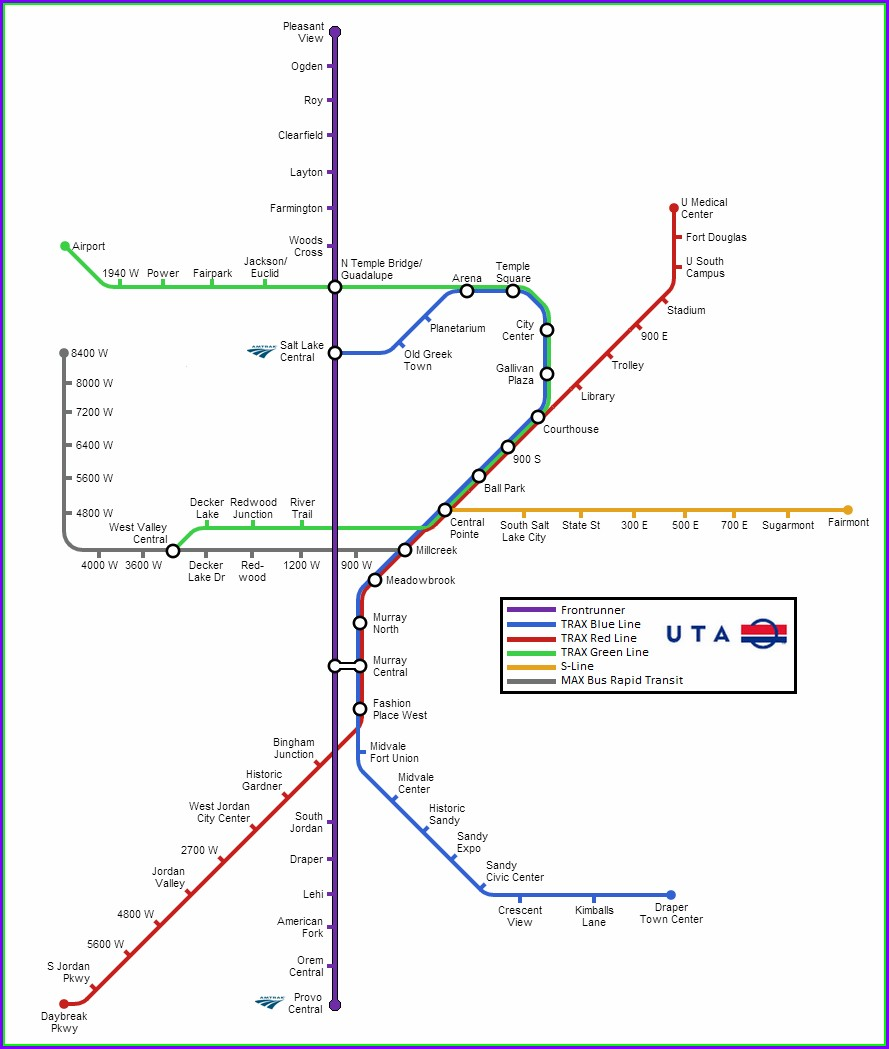 Salt Lake City Trax Map