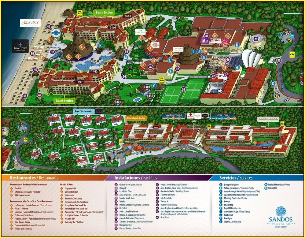 Sandos Caracol Mapa Del Hotel