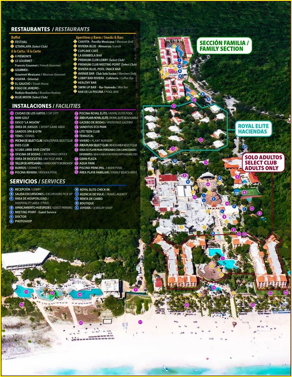 Sandos Caracol Resort Map