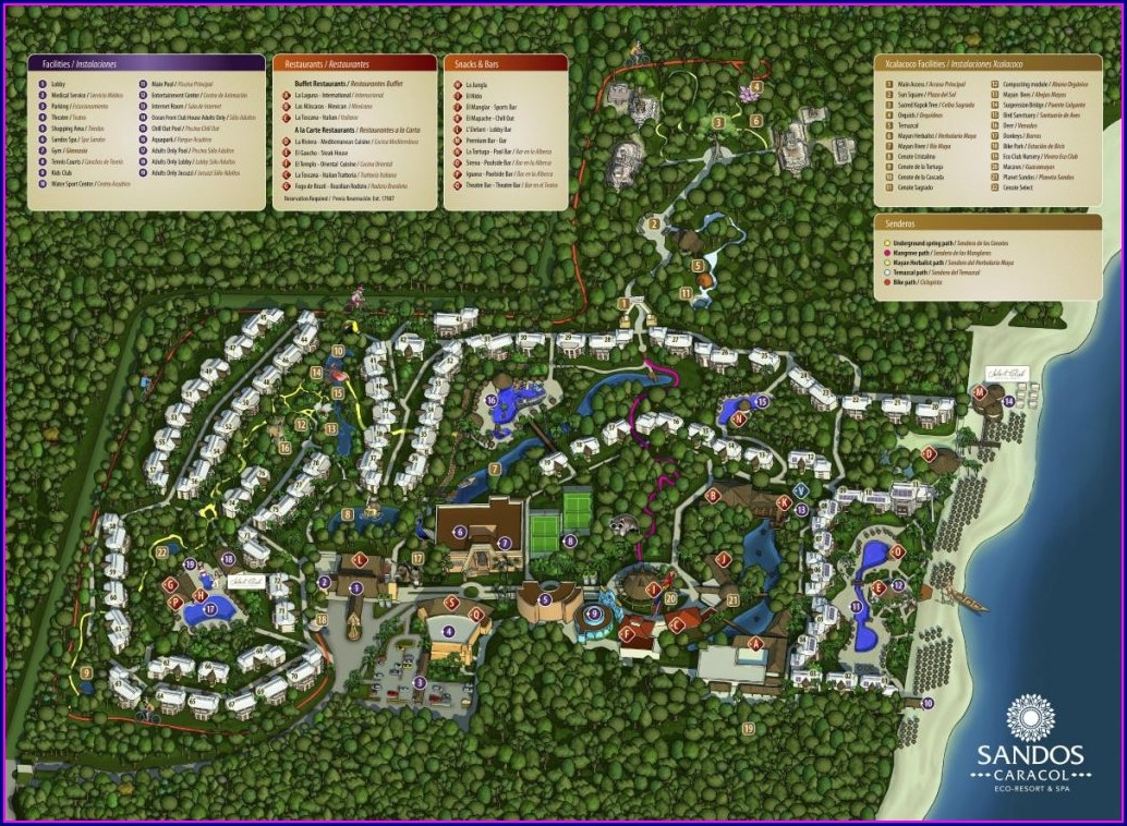 Sandos Playacar Beach Resort Map 2019