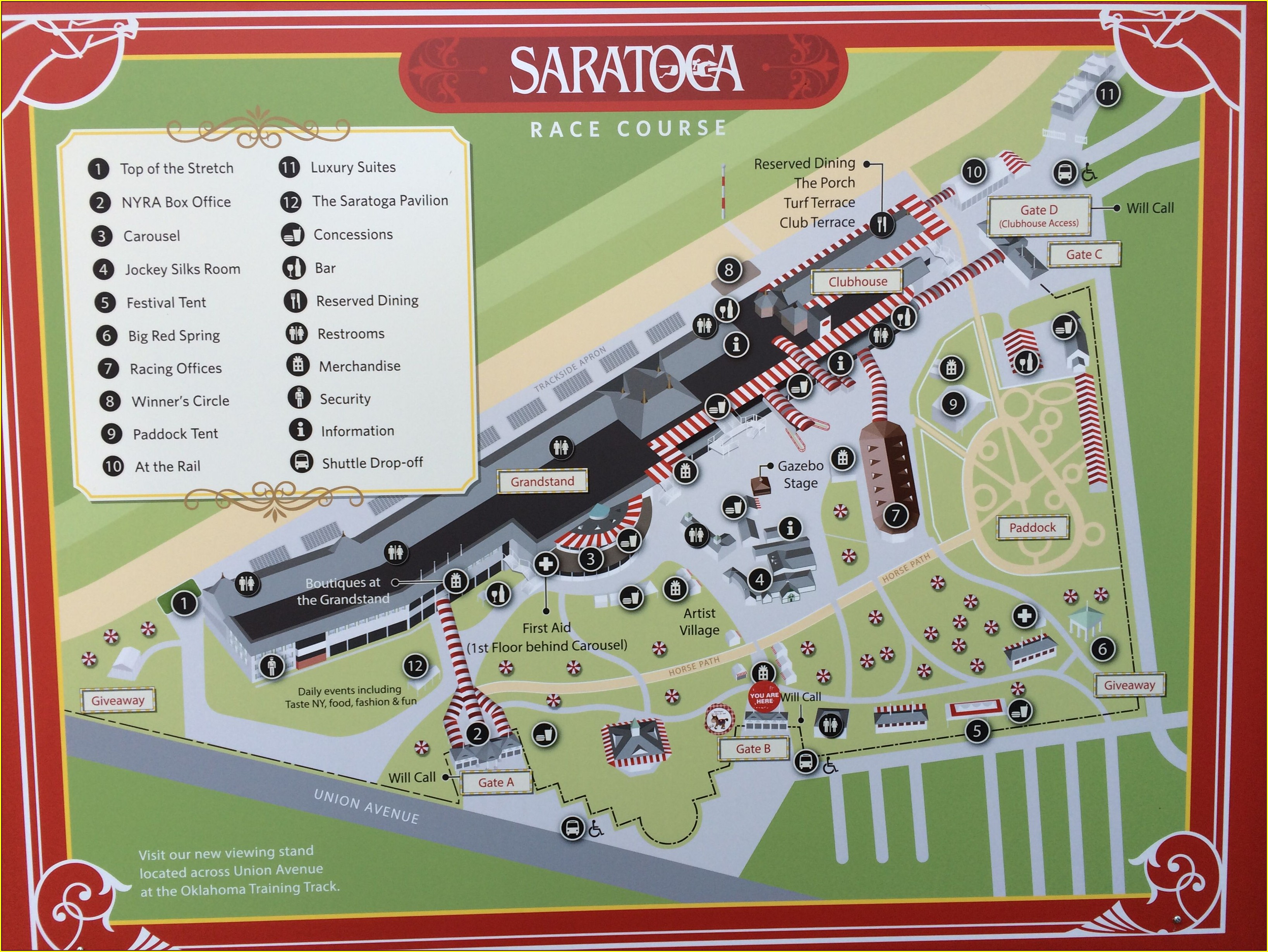 Saratoga Race Track Hotels Map