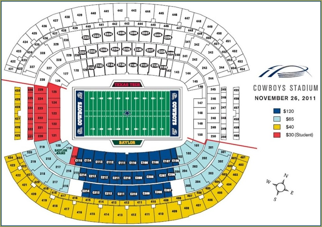 Seat Map Dallas Cowboys Stadium Seating Chart