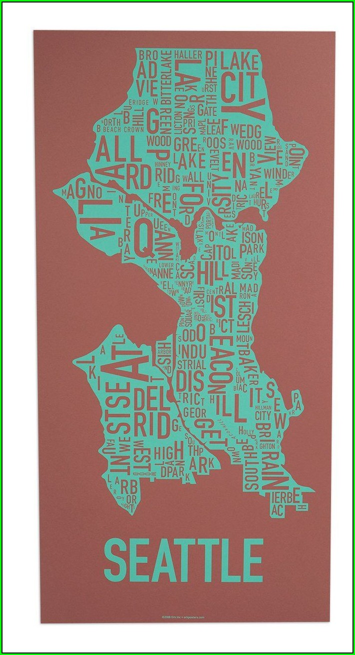 Seattle Neighborhood Map Poster