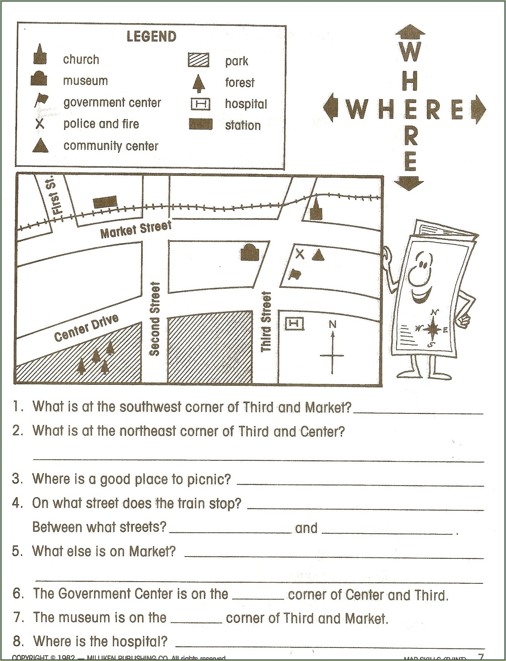 Second Grade 2nd Grade Map Skills Worksheets Free