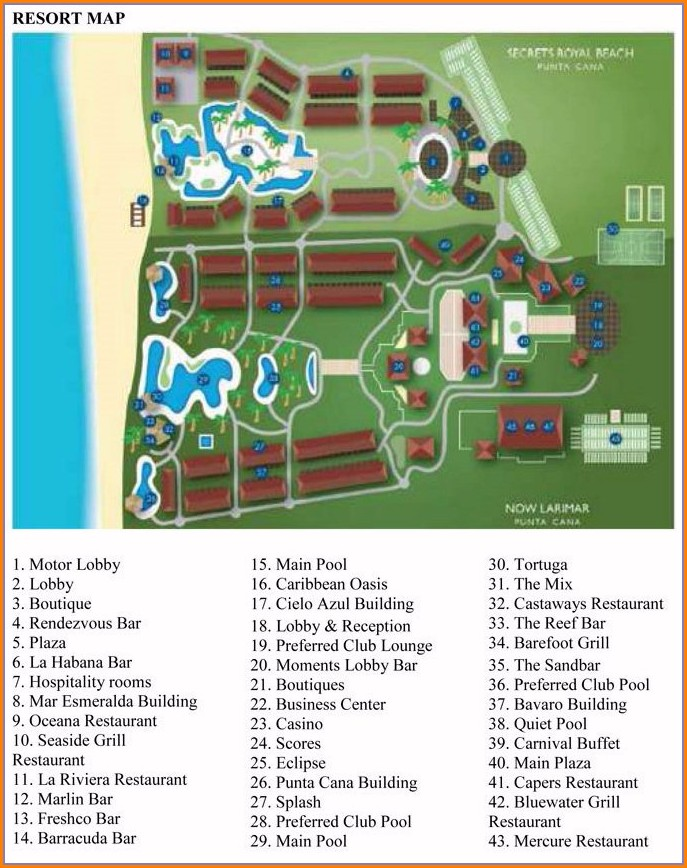 Secrets Royal Beach Punta Cana Map