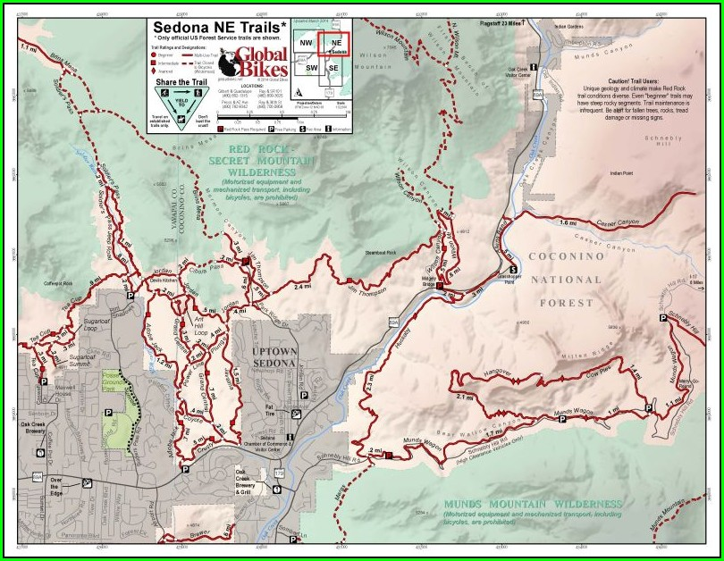 Sedona Mountain Bike Trail Map