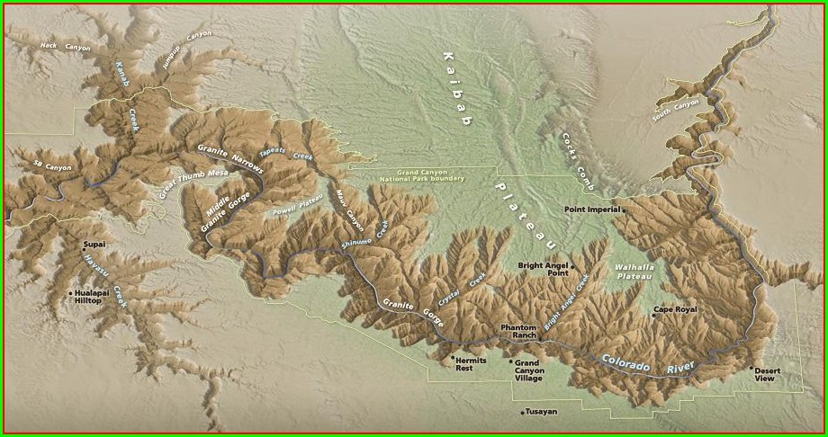 Simple Grand Canyon Topographic Map
