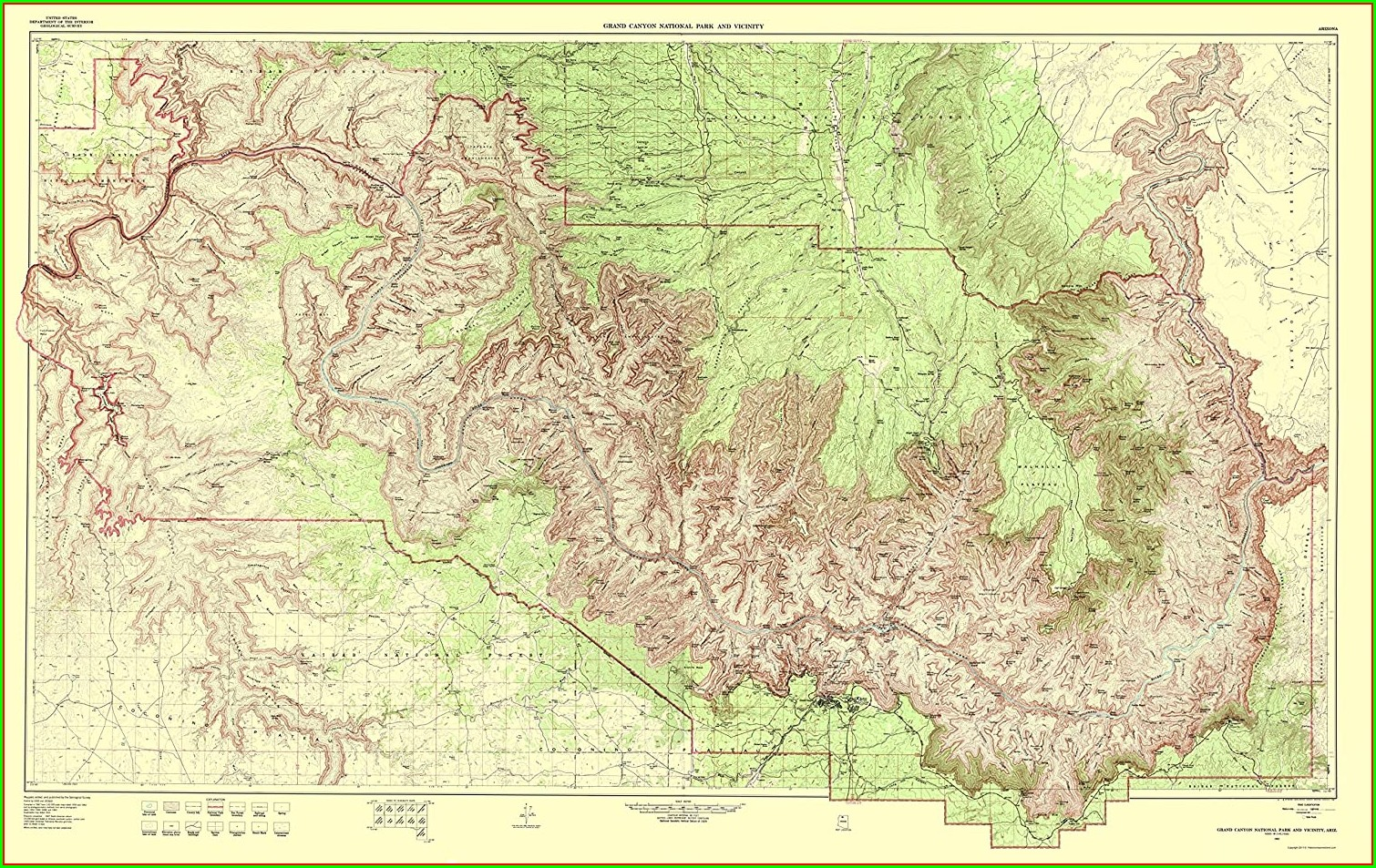 Simplified Grand Canyon Topographic Map