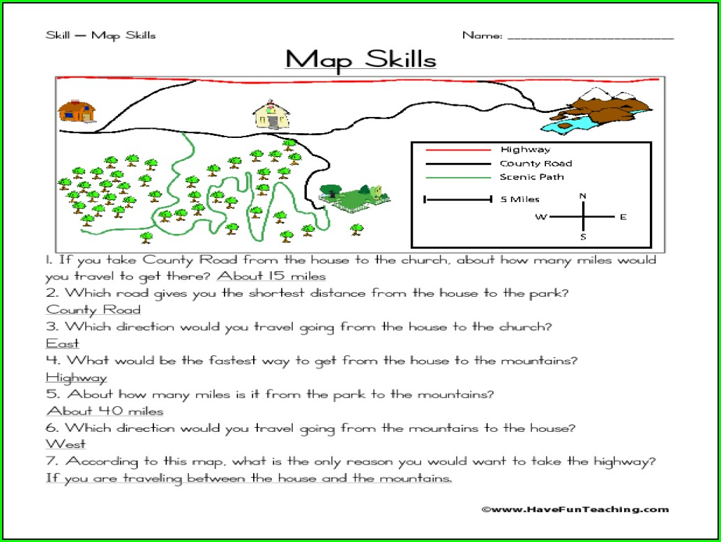 Skills Worksheet Map Skills Answer Key