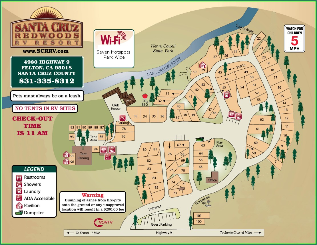 Smithwoods Rv Park Site Map