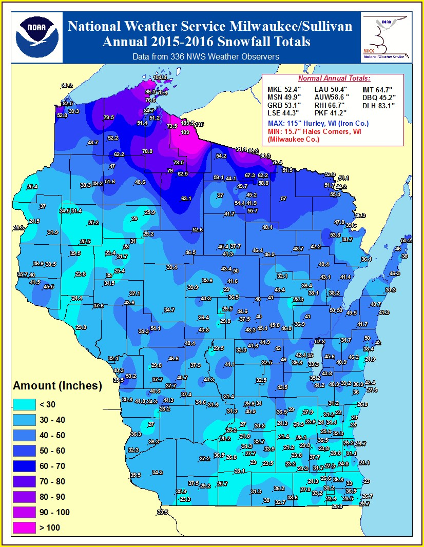 Snow Depth Map Northern Wisconsin