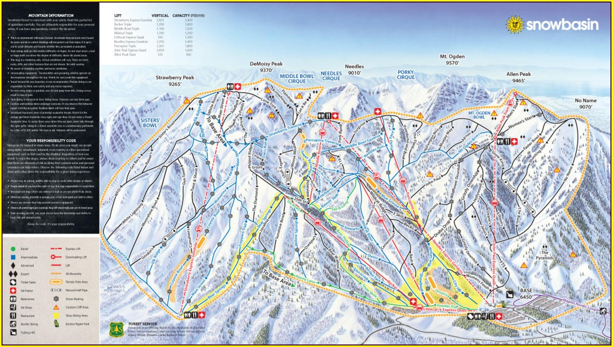 Snowbasin Ski Resort Trail Map