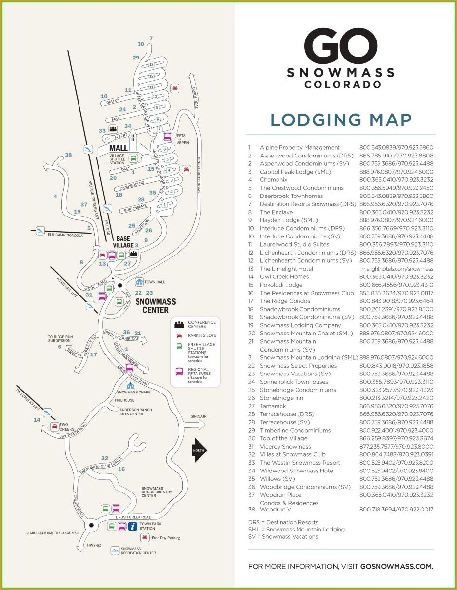 Snowmass Village Condo Map