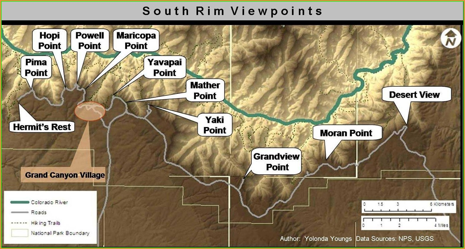 South Rim Grand Canyon Viewpoints Map