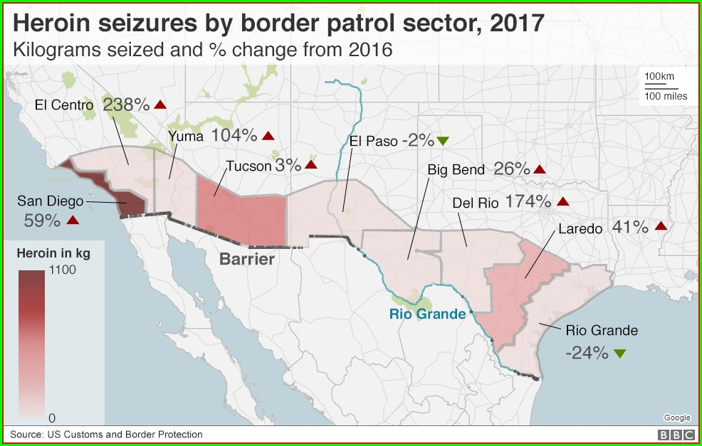 Southern Border Wall Map