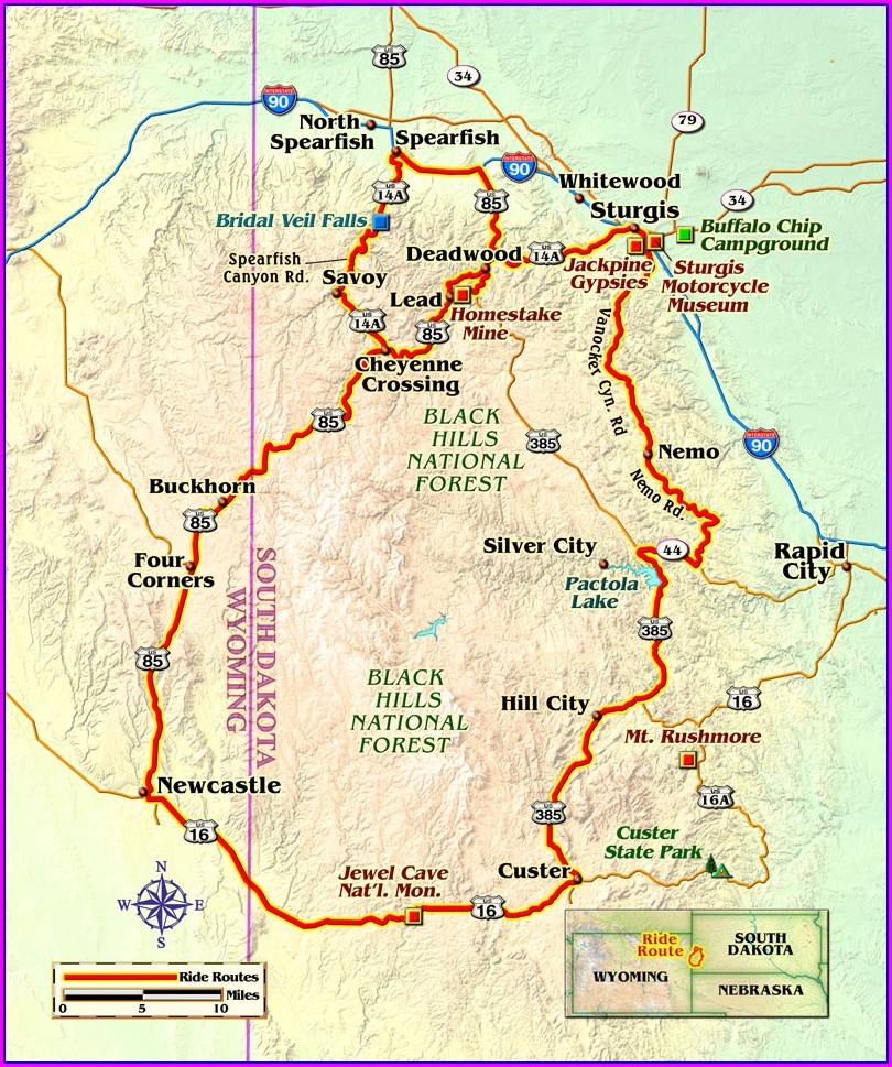 Spearfish Canyon Ride Map