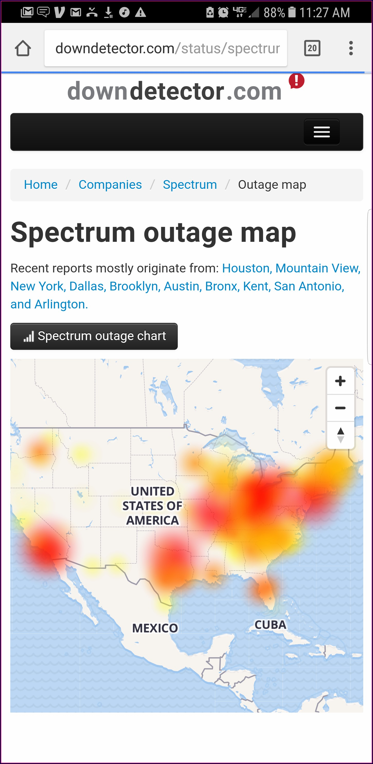 Spectrum San Antonio Outage Map