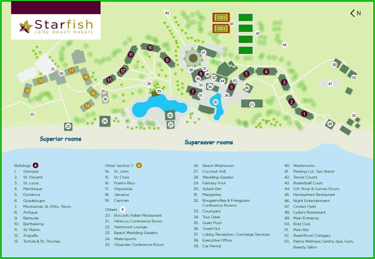 Starfish Jolly Beach Resort Map